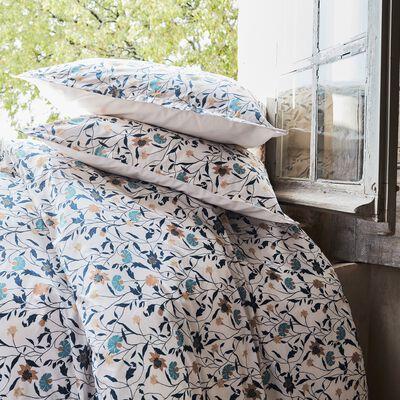 Housse de couette et 2 taies d'oreiller en percale de coton - blanc 240x220cm-FATINA