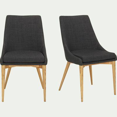 Chaise en tissu - gris foncé-ABBY