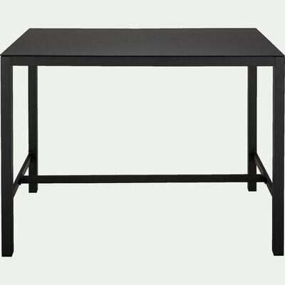 Table haute en acier et verre trempé - noir 6 personnes-Cahors