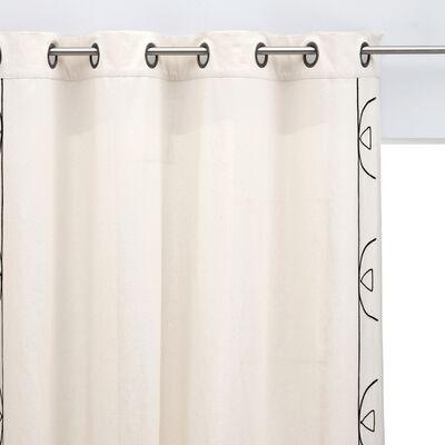 Rideau à œillets en coton brodé - blanc écru 140x250cm-EGYPTIAN