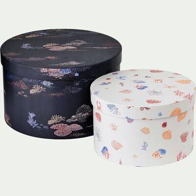 lot de 2 boites rondes décoratives motif marin-LIMA