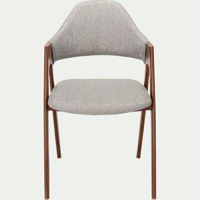 Chaise en tissu et effet bois - gris borie-GARETTE