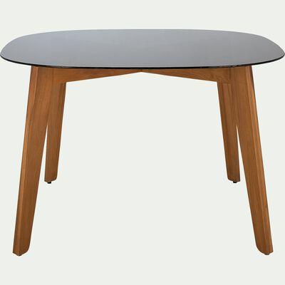 Table fixe carrée avec plateau en verre fumé 4 personnes intérieur et extérieur - L120xl120xH75cm-ZEPPLIN