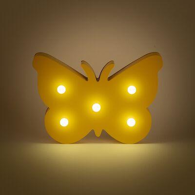 Veilleuse papillon en bois 5 leds non électrifiée - jaune-Lusour