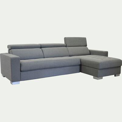 Canapé d'angle réversible convertible  en tissu - gris clair-Mauro