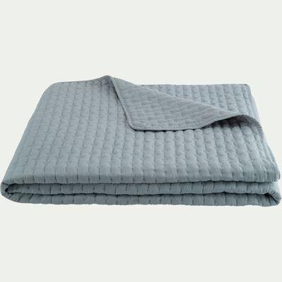 Couvre-lit en tissu surpiqué - bleu calaluna 180x230cm-BENITO