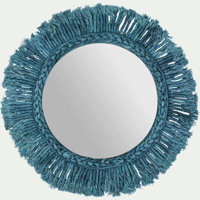 Miroir mural avec franges en coton - bleu d35cm-Louis