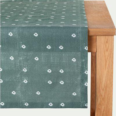 Chemin de table en coton à motif - bleu 50x200cm-SUDHA