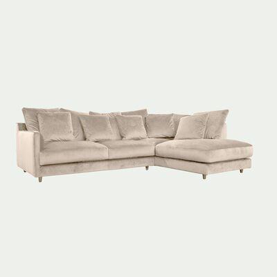Canapé d'angle droit convertible en velours - beige roucas-LENITA