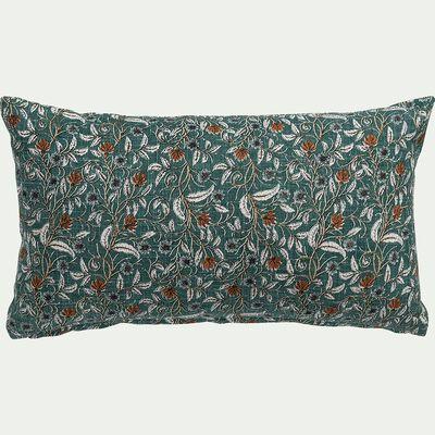 Coussin imprimé block print floral en coton - vert 30x50cm-SARINEELA