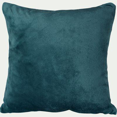 Housse de coussin effet polaire- bleu figuerolles 40x40cm-ROBIN
