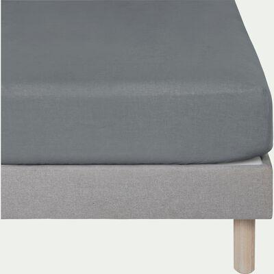 Drap housse en lin - gris restanque 180x200cm B28cm-VENCE