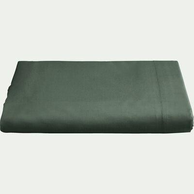 Drap plat en percale de coton 270x300- vert cedre-FLORE
