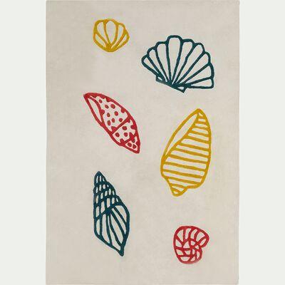 Tapis enfant tufté rectangle motif coquillages 120x180cm - écru-Berlingot