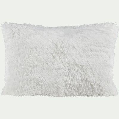Housse de coussin à poils longs - blanc 40x60cm-ELEC