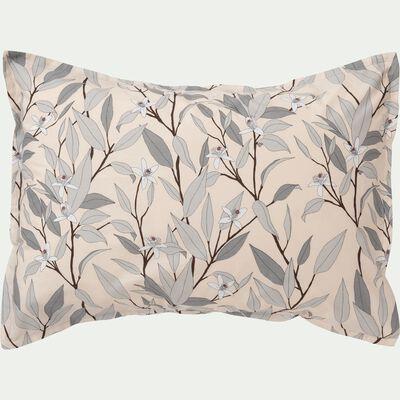 Lot de 2 taies d'oreiller en percale de coton imprimé Fleurs d'oranger - gris restanque 50x70cm-FANNY