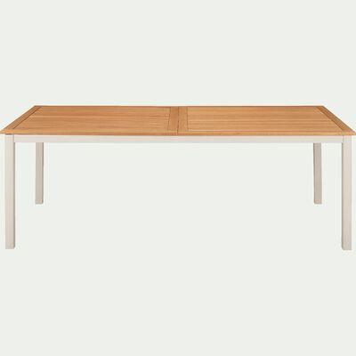 Table de jardin extensible en eucalyptus et aluminium (8 à 12 places) - blanc écru-DOLE