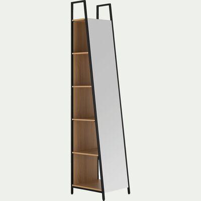 Miroir avec rangement - bois clair H221xL44cm-HENRY
