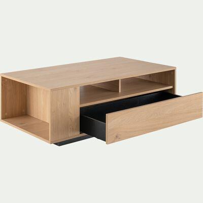 Table basse rectangulaire en bois avec niches et tiroir - bois clair-LECCE