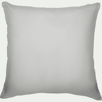 Lot de 2 taies d'oreiller rayées en satin de coton - gris borie 65x65cm-SANTIS