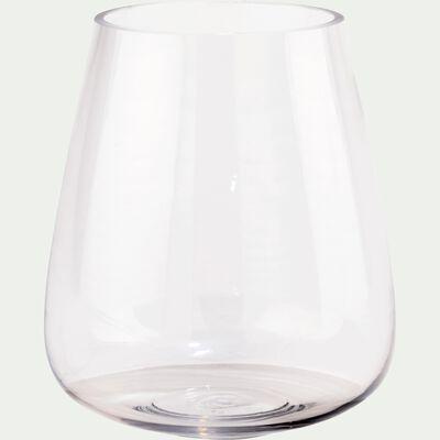 Vase obus en verre épais - transparent H18cm-BALAN