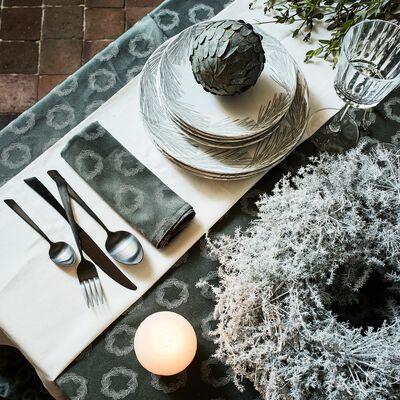 Chemin de table en polyester et coton vert 50x250cm-COURONNE