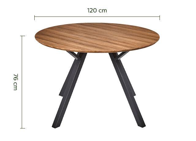 Table de repas ronde effet chêne -  6 places-OCTAVIE