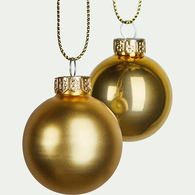Lot de 16 boules en verre doré D3,5cm-chuatoco