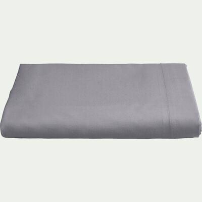 Drap plat en percale de coton 270x300- gris restanque-FLORE