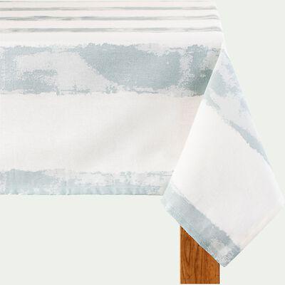 Nappe rayée en coton - bleu et blanc 170x250cm-SALEM