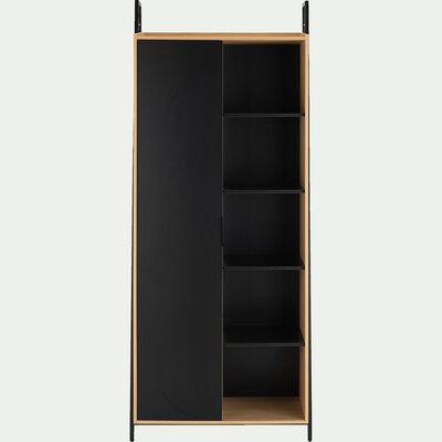 Armoire 1 porte bois clair et acier - noir H221xL90cm-HENRY
