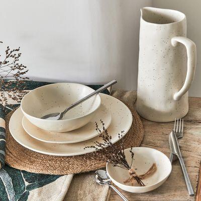Assiette plate en grès - beige mat D26,5cm-MINORQUE