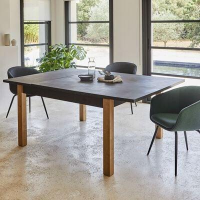 Table de repas carrée extensible effet ardoise aux reflets marron - 6 à 8 places-MADON