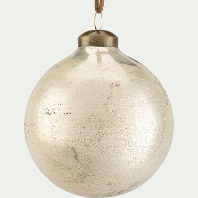Boule de Noël en verre - D8cm doré métallisé-CLET