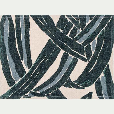 Lot de 2 sets de table motif feuilles en coton - vert 35x48cm-SARGAN