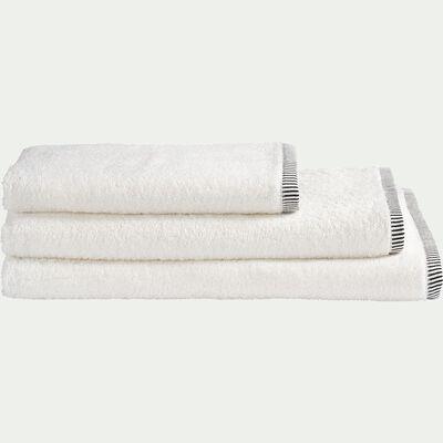 Linge de toilette brodé en coton- blanc-ROMANE