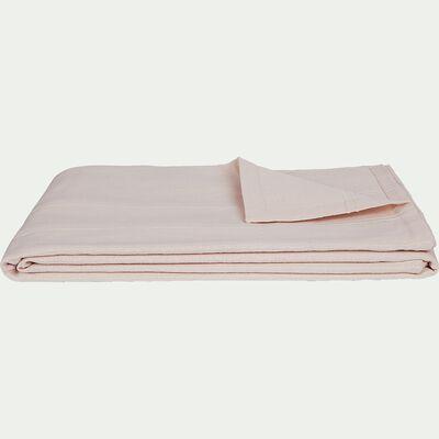 Couvre-lit tissé en coton - rose grège 180x230cm-BELCODENE