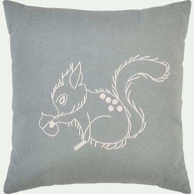 Coussin carré brodé écureuil 40x40cm - vert clair-Songe