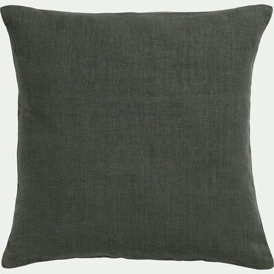 Coussin de sol en lin lavé - vert cèdre 70x70cm-VENCE