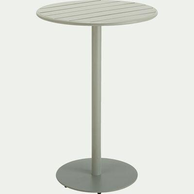 Table haute ronde en aluminium - vert olivier (4 places)-DOUNA
