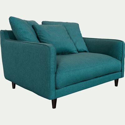Canapé 1,5 places fixe en tissu - bleu niolon-LENITA