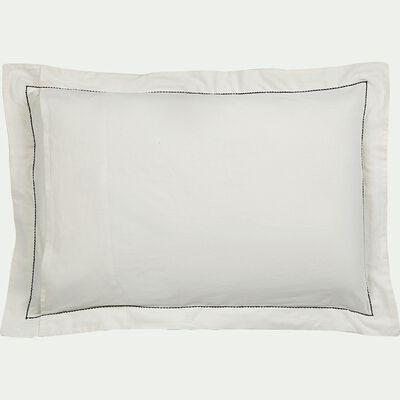 Lot de 2 taies d'oreiller en coton brodé - blanc ventoux 50x70cm-GALLIA
