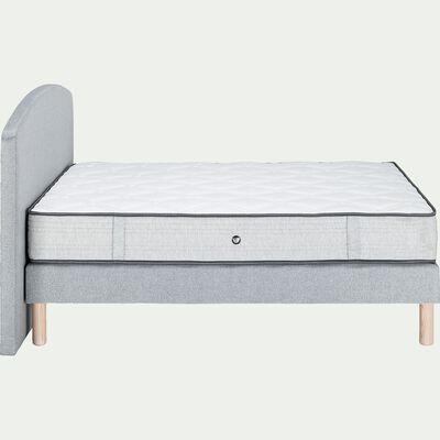 Ensemble matelas sommier avec tête de lit capitonnée - gris clair 160x200cm-ROCCAS