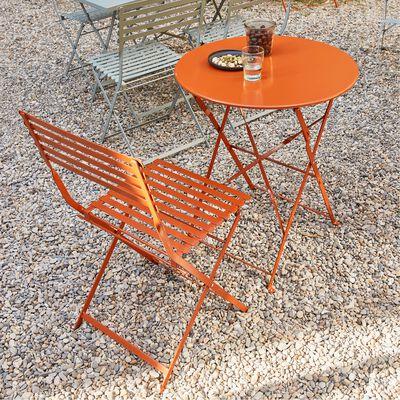 Table de jardin pliante D60cm - marron rustrel (2 places)-CERVIONE
