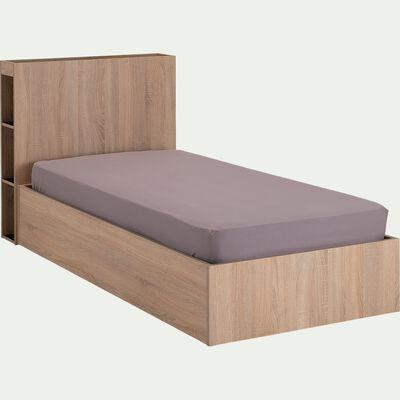 Lit coffre avec tête de lit et rangements 90x200cm- chêne blanchi-BALME