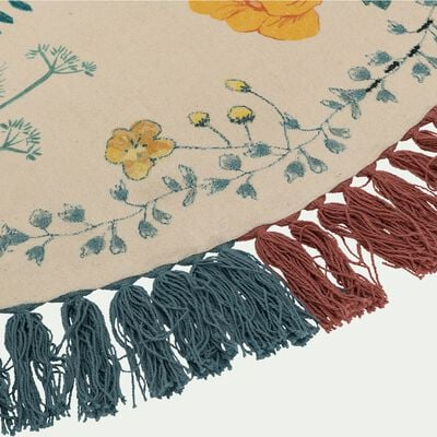 Tapis enfant en coton tissé plat imprimé motifs fleurs d120cm - multicolore-Volière