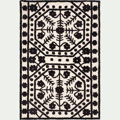 Tapis tufté en coton - noir et blanc 120x170cm-LYOM