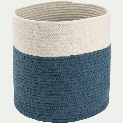 Panier de rangement bicolore - bleu D30xH30cm-Louni