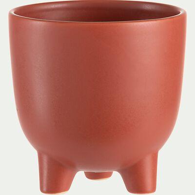 Cache-pot sur pieds en céramique - rouge ricin H11cm-JEREZ