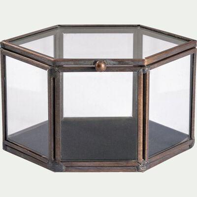 Boite à bijoux en verre et structure métal - noir 6,5x8,5cm-GALICE